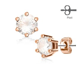 6 Prong Set Clear Cz Rose Gold Tone 316 L Surgical Steel Post Stud Earrings