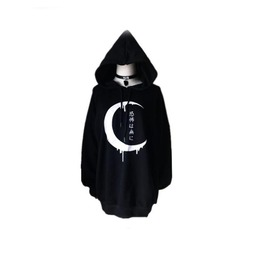 Gothic Black Japanese Moon Long Sleeve Women Pullover Hoodies