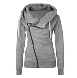 Oblique Zipper Slim Fit Hooded Jacket Sweatshirt Women