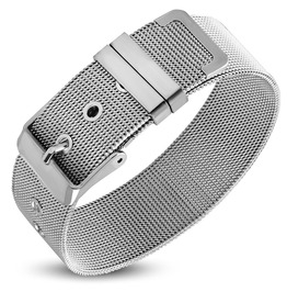 18mm Stainless Steel Mesh Belt Buckle Bracelet Tba017