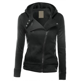 Asymmetrical Zipper Notched Lapel Collar Slip Pockets Hooded Jacket Women