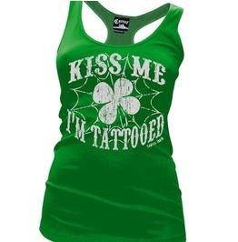 Kiss Me I'm Tattooed Women's Racer Back Tank Top