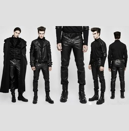 Mens Hot Black Pleather Pants Vegan Leather Fetish Punk Trousers