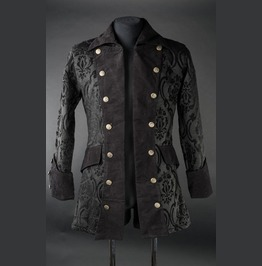 Mens Black Jacquard Victorian Gothic Pirate Jacket $5 Worldwide Shipping