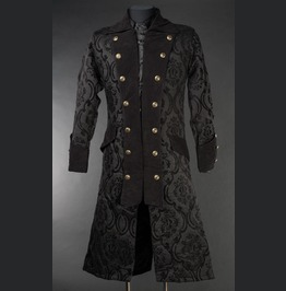 Mens Long Black Brocade Victorian Gothic Pirate Jacket $5 Shipping