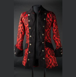 Mens Red Black Jacquard Victorian Gothic Pirate Jacket $5 To Ship