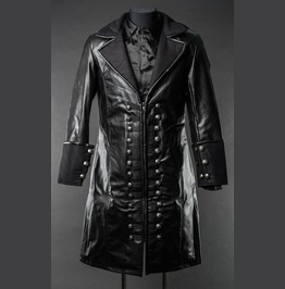 Mens Long Black Faux Leather Victorian Gothic Pirate Jacket $5 Shipping