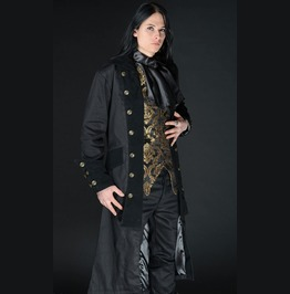 Mens Long Black Victorian Gothic Pirate Jacket $5 Shipping