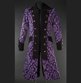 Mens Long Black Purple Brocade Victorian Gothic Coat Pirate Jacket