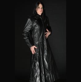 Mens Long Black Vegan Leather Goth Coat Floor Length Pleather Jacket