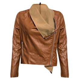 Double Turn Down Collar Waterproof Faux Leather Jacket Women