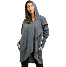Open Stitch Convertible Long Drape Coat Hooded Trench Outerwear