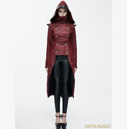 Red Leather Gothic Punk Military Coat For Women Ct05602