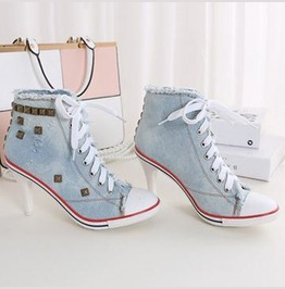 Converse Style High Top Heel Canvas Denim 4 Colours Available Us4 Us8 Women