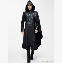 Black Leather Gothic Military Cloak Coat For Men Ct068
