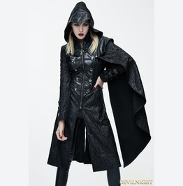 Black Leather Gothic Military Cloak Coat For Women Ct062