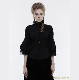 Black Gothic Cropped Sleeves Shirt For Women Wy 859