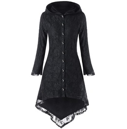 Gothic Asymmetric Black Hooded Lace Up Long Overcoat