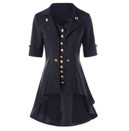 Asymmetric Buttoned Turn Down Collar Short Sleeve Long Outerwear Jacket