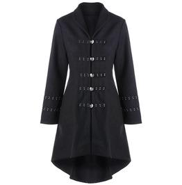 Gothic Metal Embellished Lace Up Dip Hem Coat Outerwear Jacket