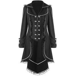 Gothic Double Breasted Lace Hem Tail Trench Autumn Coat Outerwear