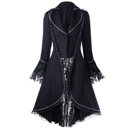 Gothic Lace Panel Lace Up High Low Long Top Winter Coat Women