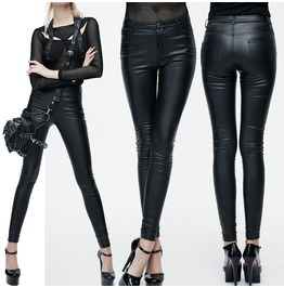 Women Black Leather Leggings Ladies Sexy Look Synthetic Leather Punk Rock G