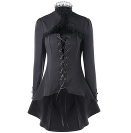 Gothic High Collar Lace Trim Lace Up Dip Hem Long Black Trench Coat
