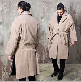 Side Opening Oversized Gown Long Coat 156