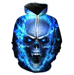 Blue Flame Skull 3 D Hip Hop Men Pullovers Hoodies