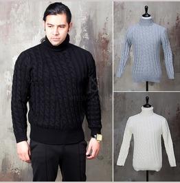 Twisted Pattern Turtle Neck Knit Sweater 53