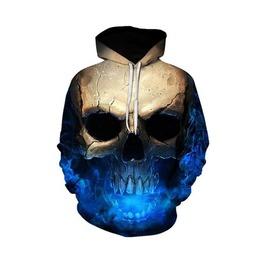 Skull Dark Rave 3 D Men Hoodies