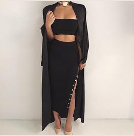Sexy High Slit Button Knit Maxi Skirt Black Gray B2239