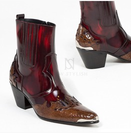 Contrast Grunge Wine Western High Heel Leather Boots 406