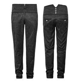 Gothic Military Steampunk Black Long Slim Fit Chinese Knot Zipper Button Peacock Pants