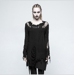 Women Casual Loose Black Punk Sweaters Decadence Pullover With