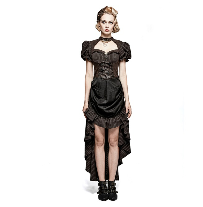 9f4668b9248f Steampunk British Style Coffee Puff Sleeve High Low Punk Dress
