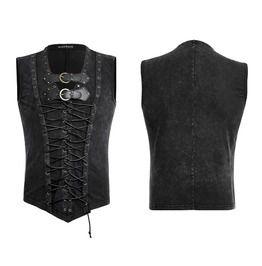 Punk Stone Wash Double Lace Vegan Leather Straps Vest