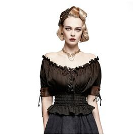 b13ca8cbf4a Steampunk Off White Fitted Waist Off Shoulder Leather Accented Sleeves For  Women