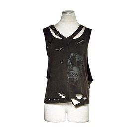 Printed Hole Knitted Leisure Punk Vest