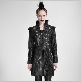 Black Long Leather Punk Trench Coats With Standing Collar