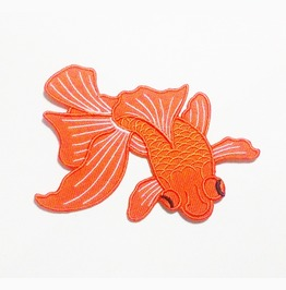 Goldfish Embroidered Iron On Patch.