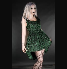 Black Green Brocade Victorian Gothic Short Front Long Back Mini Dress