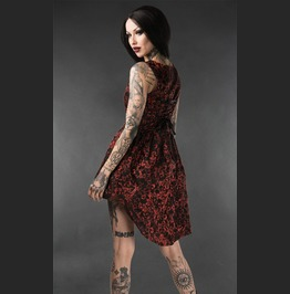 Black Red Brocade Victorian Gothic Short Front Long Back Mini Dress