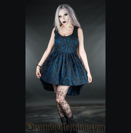 Black Blue Brocade Victorian Gothic Short Front Long Back Mini Dress