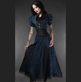 Black Blue Victorian Gothic Lace Frilled Full Length Skirt Free Shipping