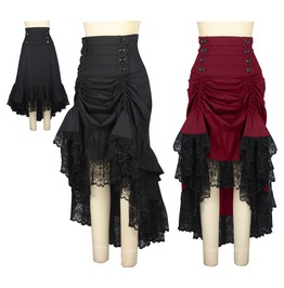 Black Or Red Long Adjustable Lace Trim Victorian Goth Skirt Reg Plus Sizes