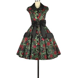 Red Roses Print Black Knee Length Rockabilly Swing Pin Up Dress Plus Sizes