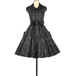 Black Grey Floral Print Knee Length Rockabilly Swing Pin Up Dress Plus Size