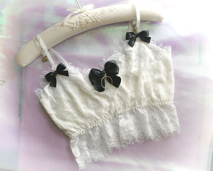 55d94a2752 Daddys Girl Ddlg Clothing White Lace Crop Top Cami .